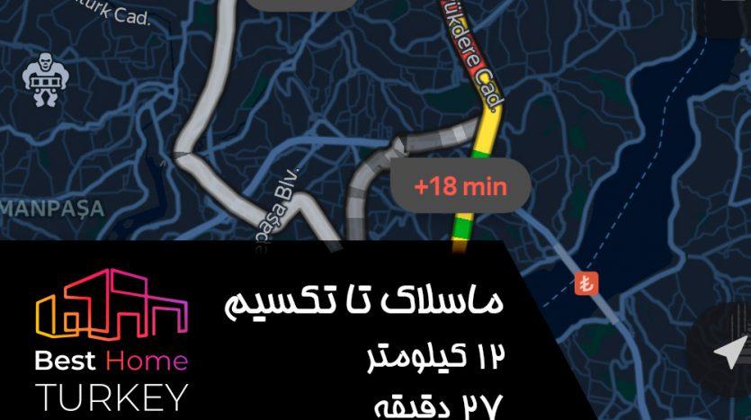 فاصله ماسلاک تا میدان تکسیم در یک روز بسیار پر ترافیک