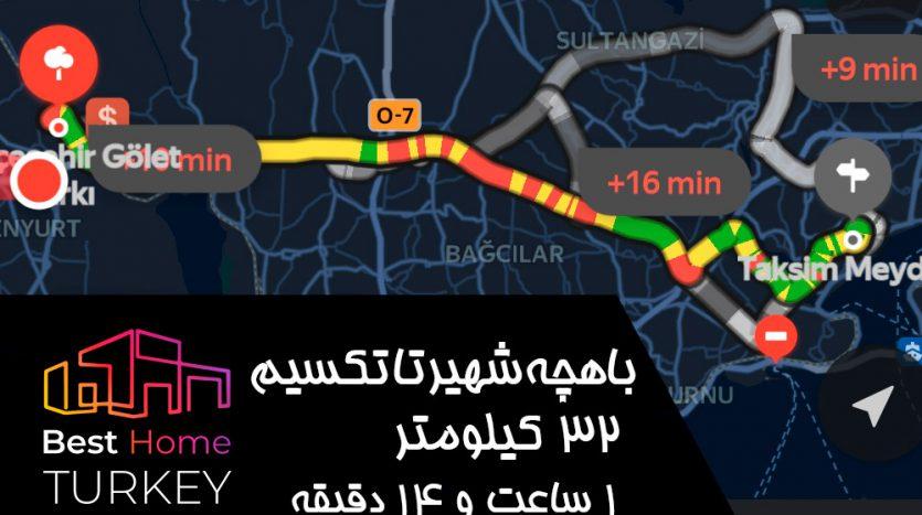 فاصله باهچه شهیر تا میدان تکسیم در یک روز بسیار پر ترافیک