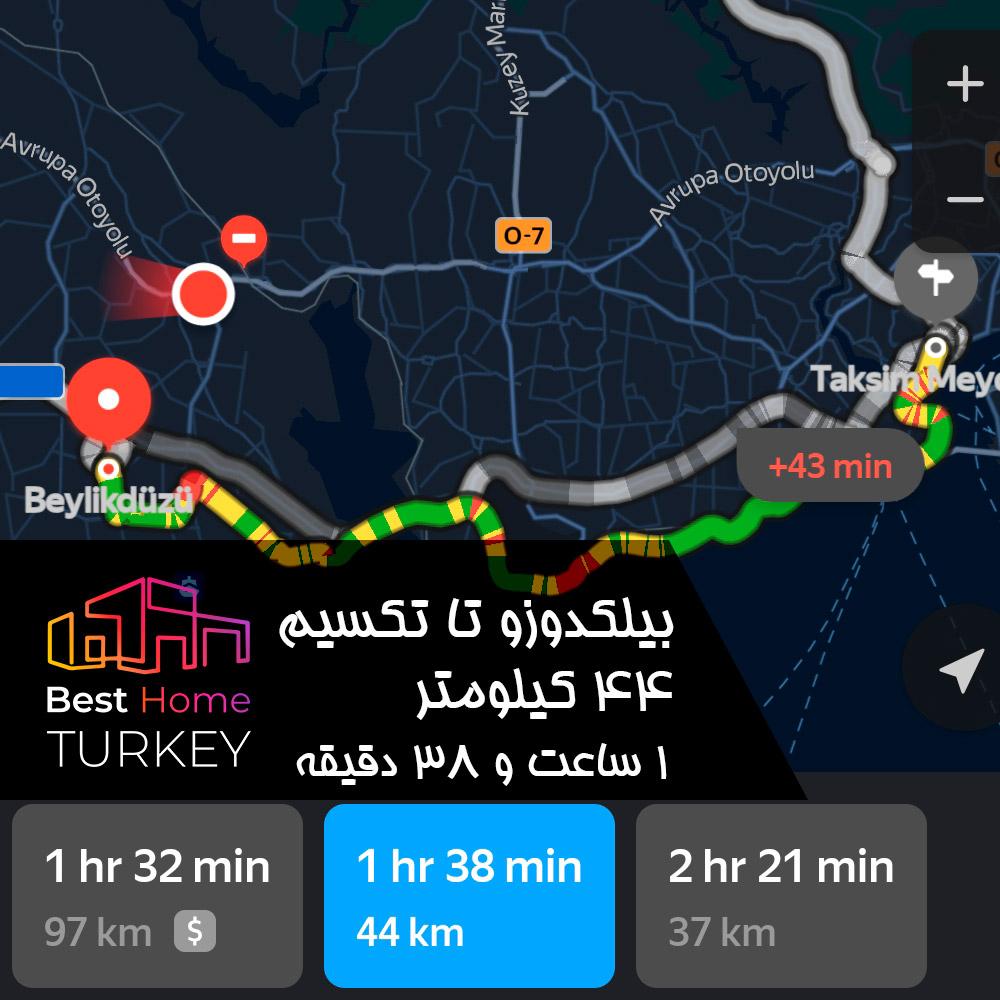 فاصله بیلکدوزو تا میدان تکسیم در یک روز بسیار پر ترافیک