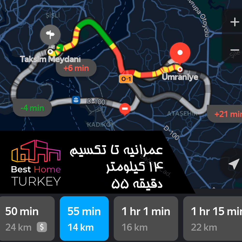 فاصله عمرانیه تا میدان تکسیم در یک روز بسیار پر ترافیک