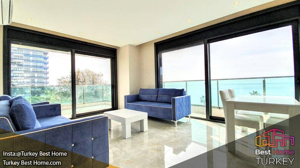 فروش آپارتمان دوخوابه با چشم انداز پانوراما از دریا در محموتلار Mahmutlar